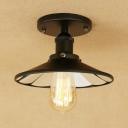 Black Saucer Surface Mount Light Modern Industrial Metal 1 Light Semi Flush Mount Light for Staircase