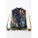 Cool Girl Tiger Eagle Print Baseball Jacket