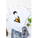 Funny Cartoon Character Triangle Print Short Sleeve Summer Basic Cotton Tee