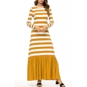 Classic Striped Printed Round Neck Long Sleeve Ruffle Hem Maxi A-Line Yellow Dress