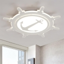White Round Rudder LED Flush Light Modernism Acrylic Ceiling Fixture for Boys Girls Room