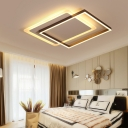 Eye Protection Square LED Flush Mount Simplicity Ceiling Lamp with Metal Frame Decoration