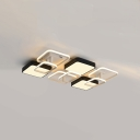 Geometric Square Flush Light Nordic Style Metal Surface Mount LED Lights in Warm/White