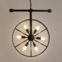 Black Wheel Chandelier Light Retro Style Industrial Metal 6 Lights Suspension Light