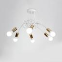 Gold Finish Twist Design Light Fixture Modern Fashion Metallic Multi Light Suspended Light