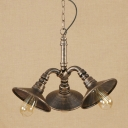 Flared Shade Chandelier Light Vintage Metal 3 Lights Hanging Lamp in Antique Bronze for Corridor