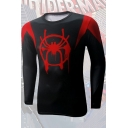 Trendy Printed Long Sleeve Compression Training Fitness Black T-Shirt