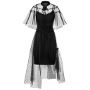 Fashion Black Sexy Transparent Gauze Ruffle Hem Midi A-Line Asymmetrical Dress