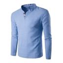 Basic Simple Plain Long Sleeve V-Neck Loose Fitted Henley Shirt for Men