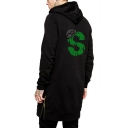 Unique Crown Snake Logo Back Zip Closure Side Black Longline Hipster Hoodie