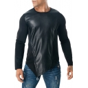 Unique PU Patchwork Zip-Embellished Round Neck Long Sleeve Slant Cut Bottom Plain Muscle Sweatshirt for Guys