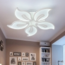 3/5 Heads Petal Shade Ceiling Lamp with Metal Canopy Contemporary LED Semi Flush Light in White