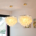 3 Heads Fountain Hanging Chandelier Luxury Shelly Art Deco Suspension Light in Gold