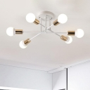 6 Heads Round Canopy Ceiling Light with Crossed Lines Minimalist Metal Semi Flushmount in Brass