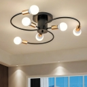 Nordic Style Swirl Arm Ceiling Lamp Metal 6 Bulbs Art Deco Ceiling Flush Mount in Brass Finish