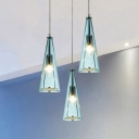 Aqua Glass Spire Suspended Light Modern Design Height Adjustable Triple Lights Hanging Light fixture