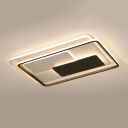Nordic Style Linear Ceiling Fixture with Rectangle Frame Metallic LED Flush Lighting in Warm/White