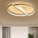 2 Semicircle LED Flushmount Modernism Metal Ceiling Light in White for Sitting Room