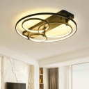 Nordic Style Linear Ceiling Light with Halo Rings Metallic LED Semi Flush Mount in Black