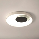 Acrylic Crescent LED Flushmount Nordic Style Ceiling Lamp in Black and White for Sitting Room