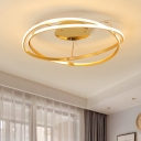 Modern Chic Veloce Ceiling Light Aluminum LED Semi Flush Mount in Brass for Restaurant