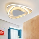 White Triangle LED Lighting Fixture Nordic Style Metallic Flush Light for Bedroom Foyer