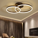 Metallic Dual Ring Flush Mount Light Modern Fashion LED Ceiling Fixture in Brown for Bedroom