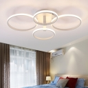 Modern Multi Ring Semi Flush Mount Light Acrylic LED Ceiling Lamp in White for Dining Room