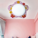 Floral LED Flush Light Fixture with Acrylic Shade Pink Ceiling Fixture for Girls Bedroom