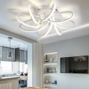 Windmill LED Ceiling Light Nordic Style Metal Flush Mount in White for Sitting Room