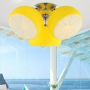 Dome 3 Lights Ceiling Light with Yellow Lemon Design Glass Shade Semi Flush Mount Lighting for Children