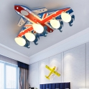 Opal Glass Shade Flush Light with Aircraft Blue 5 Lights Ceiling Fixture for Nursing Room