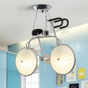 2 Lights Bicycle Hanging Lamp Nursing Room Frosted Glass Shade Suspended Light in Silver
