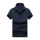 All Over Sailing Boat Print Short Sleeve Men's Summer Business Polo Shirt