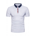 Basic Simple Contrast Collar Short Sleeve Summer Sport Slim Fit Polo Shirt for Men