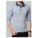 Men's Fashion Check Patched Collar Casual Classic-Fit Long Sleeve Polo Shirt