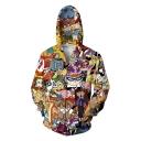 3D Cartoon Comic Character Printed Long Sleeve Zip Up Yellow Hoodie
