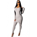 V-Neck Long Sleeve Split Side Sweater Skinny Stretch Pants Plain Slim Fit Set for Women