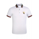 Fancy Bee Embroidered Classic Striped Trim Short Sleeve Men Summer Cotton Fit Polo Shirt