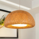 Modernism Dome Suspension Light Weave 1 Bulb Pendant Lamp in Wood with Glass Shade
