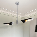 2 Lights Linear Chandelier Modern Fashion Metal Decorative Hanging Ceiling Lamp in Chrome