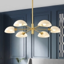 Gold Finish Sputnik Hanging Light Modern Chic 6 Lights Chandelier with White Glass Shade