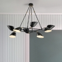 8 Lights Crossed Lines Chandelier with Oblique Shade Modern Rotatable Metal Indoor Lighting Fixture