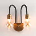 Modernism Bulb Shade Wall Mount Light Clear Glass Shade 2 Heads LED Wall Sconce in Brass