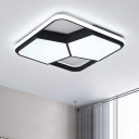 Squared LED Flush Light with 2 Pentagon Acrylic Shade Contemporary Ceiling Lamp in Black for Corridor