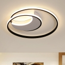 Modernism Twisted Lighting Fixture with White Crescent Canopy Metal Art Deco LED Flush Mount Light
