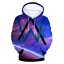Norwegian DJ 3D Galaxy Pattern Cool Double W Logo Long Sleeve Relaxed Loose Fit Drawstring Hoodie