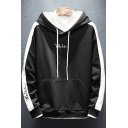 Simple Letter WHITE Colorblocked Stripe Long Sleeve Classic-Fit Drawstring Hoodie