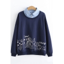 Denim Patched Collar Cartoon Cat Printed Long Sleeve Pullover Sweatshirt