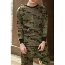 Men's Hip Hop Streetwear Fashion Camo Print Long Sleeve Cotton Green T-Shirt with Ribbon